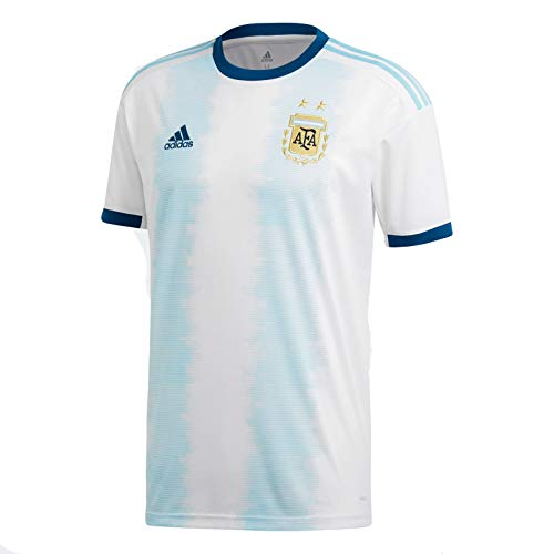 adidas Men's AFA Argentina Home Soccer Jersey (X-Large) White/Lite Aqua