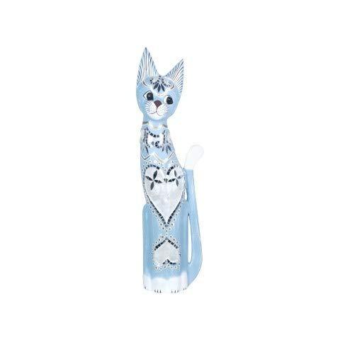 CAPRILO Figura Decorativa de Madera Pintada Gato Azul Plantado ...