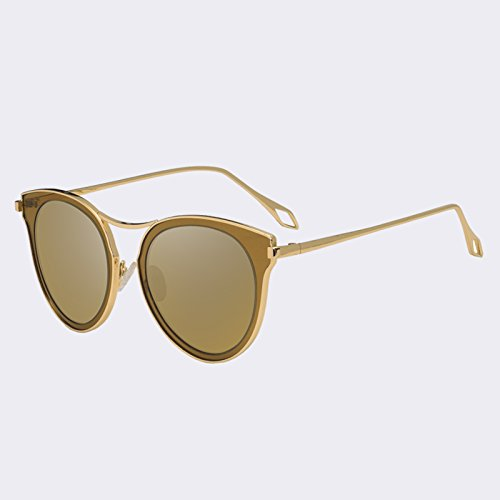 de polarizadas Ojo mujer C05Gold Gato sol gafas UV400 de C3azul sombras Vintage TIANLIANG04 clásico de gafas espejo Awf1qgwR