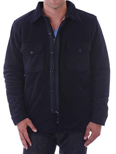 Woodland Supply Co. Men's Sherpa Fleece Lined Shirt Jacket (Large, Navy)