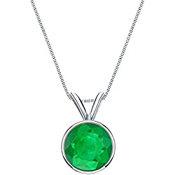 18k Gold Bezel Basket Green Emerald Gemstone Solitaire Pendant Necklace (1/5 - 1 cttw) 18""