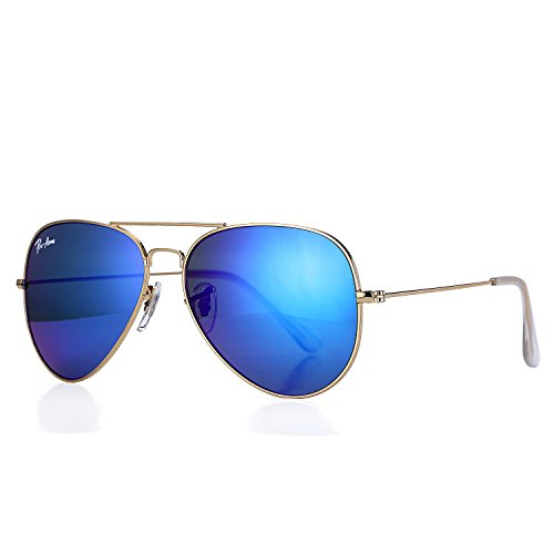 Pro Acme Aviator Crystal Lens Large Metal Sunglasses (Gold Frame/Crystal Blue Mirrored -
