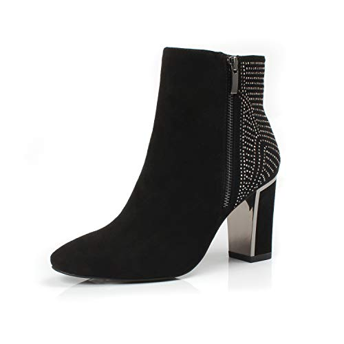 - DUNION Women's Broccoli Comfortable Zip Closure Fashion Rhinestone Party Wedding Chunky Heel Dress Ankle Booties,Black,10 B(M) US