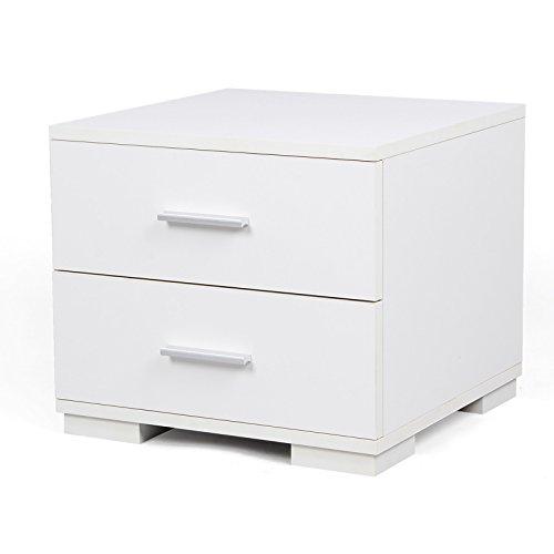 Songmics MDF 40 x 35 x 40 cm Nachttisch Nachtkommode mit 2 Schubladen (31,5 x 32,5 x 8,5 cm) weiß LBC35W