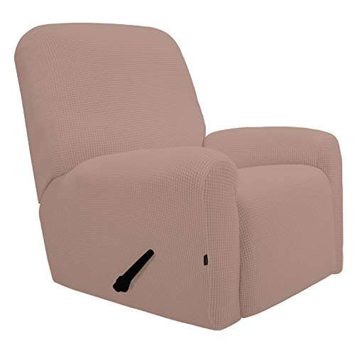 Easy-Going Recliner Stretch Sofa Slipcover Sofa Cover 4-Pieces Furniture Protector Couch Soft with Elastic Bottom Kids,Polyester Spandex Jacquard Fabric Small - Recliner Pink