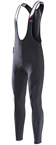 RION Pro Cycling Pants Men's Winter Thermal Padded Bib Tights (ZeTrophy-EL, S)