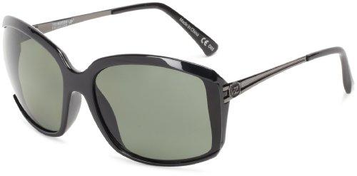 VonZipper Kismet Square Sunglasses, Black Gloss, Grey - Zipper Glasses Von