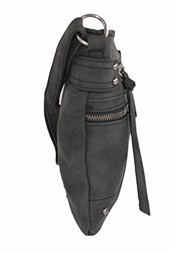 d8bb5692331a Black Edgy Faux Leather Zippered Messenger Crossbody Side Bag Purse ...