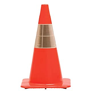 """Work Area Protection 18PVCS Polyvinyl Chloride Standard Traffic Cone with 4"""" VSB Reflective Collar, 7-1/4"""" Diameter x 18"""" Height, Fluorescent Orange"""