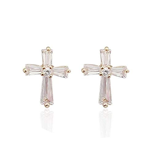i&D Jewelry Gold Plated Baguette and Round Shaped Cubic Zirconia Cross Earrings Cross Crucifix Stud Earrings for Women Man(Clear)