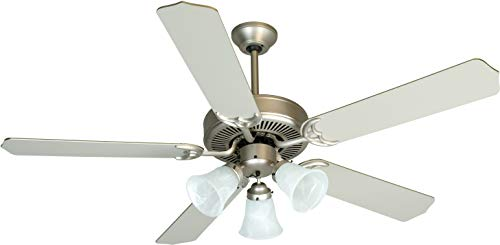 Craftmade K10422 Downrod Mount, 5 Brushed Nickel Blades Ceiling fan with 39 watts light, Brushed Satin - Unipack Collection