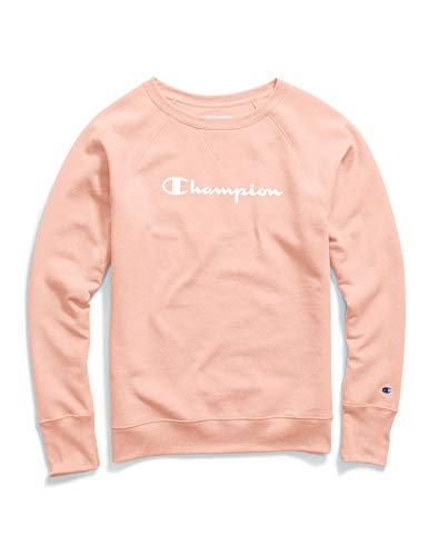 Champion Women's Fleece Boyfriend Crew Sweatshirt, Primer Pink Small