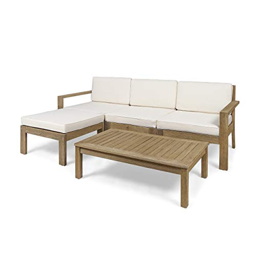 Great Deal Furniture Makayla Ana Outdoor 3 Seater Acacia Wood Sofa Sectional with Cushions, Light Brown and Cream