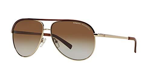 Armani Exchange Metal Unisex Polarized Aviator Sunglasses, Light Gold/Dark Brown, 61 mm by A X Armani Exchange (Image #2)