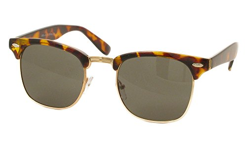 Designer Inspired Classic Half Frame Horned Rim Wayfarer Sunglasses (Tortoise Glossy Gold, - Rim Sunglasses For Gold Womens