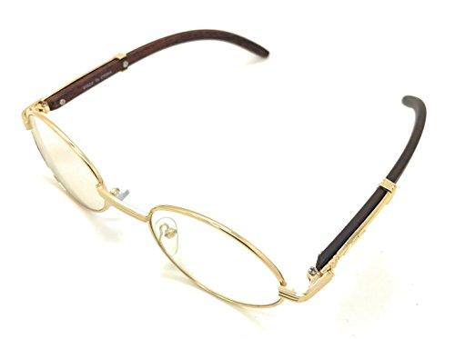 MyUV Gold Clear Lens Sunglasses Art Nouveau Vintage Style Oval Men Women Eye - Vintage Gold Glasses Oval