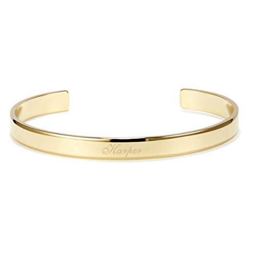 Custom Engraved Cuff Bracelet (5 1/5 inches Long; Silver Plated, Gold Plated, Rose Gold Plated)