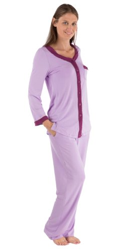 TexereSilk Texere Women's Long Sleeve Pajama Set (Orchid, X-Large) Top Gifts for Anniversary Birthday WB9995-ORC-XL