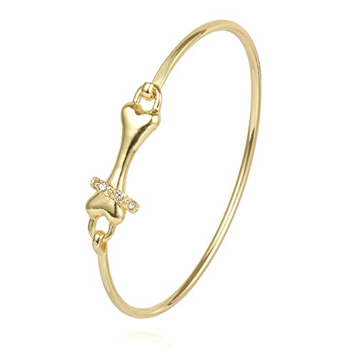 CHUANGYUN Pet Dog Bone with Rhinestone Collar for Animal Lover Open Wire Bangle Bracelet (Gold) ()