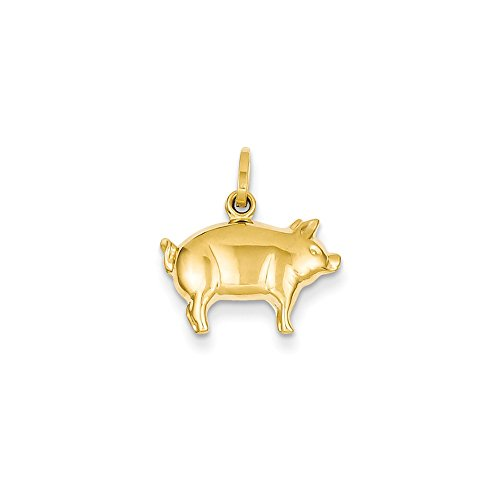14k Yellow Gold Pig Pendant (Gold Pig Yellow 14k)