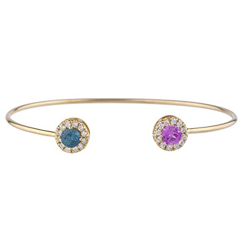 (14Kt Gold Created Pink Sapphire & Simulated London Blue Topaz Halo Design Bangle)