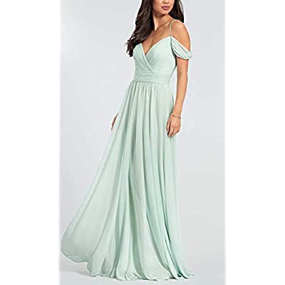V Neck Bridesmaid Dresses Long Chiffon Aline Pleated Backless Prom Evening Gown for Women at Women's Clothing store