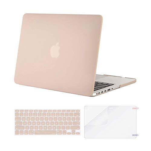 MOSISO Case Only Compatible with Older Version MacBook Pro Retina 13 inch (Models: A1502 & A1425) (Release 2015 - end 2012), Plastic Hard Shell Case & Keyboard Cover & Screen Protector, Camel