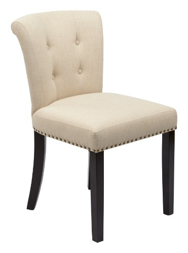 AVE SIX Kendal Tufted and Inner Spring Chair with Nailhead Detail and Solid Wood Legs, Linen (Executive Fabric Faux Leather)