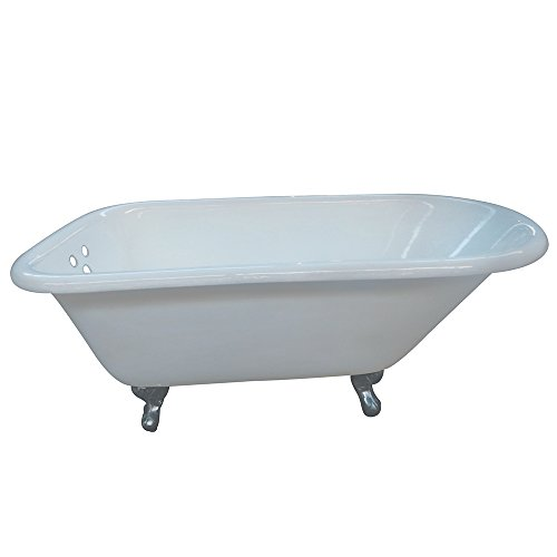 KINGSTON BRASS VCT3D663019NT1 66-Inch Cast Iron Roll Top Claw Foot Tub with 3-3/8-Inch Tub Wall Drillings and Polished Chrome Feet, White (Cast Iron Roll Top Tub)