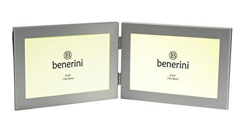 benerini Brushed Aluminum Satin Silver Color - Twin 2 Picture Horizontal Double Folding Photo Frame - Takes 2 Photos of 6 x 4 inches (15 x 10 cm) (Landscape Style) (Satin Horizontal)