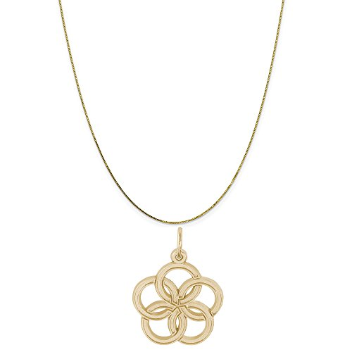 Rembrandt Charms 10K Yellow Gold Five Golden Rings of Christmas Charm on a Box Chain Necklace, 16