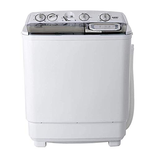KUPPET Compact Twin Tub Portable Mini Washing Machine 21lbs Capacity, Washer(13lbs)&Spiner(8lbs)/Semi-Automatic  (gray)