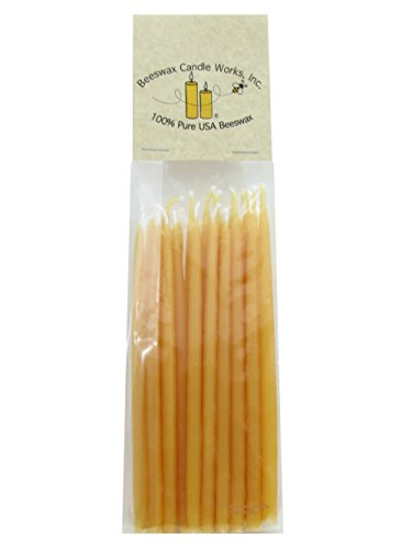 Beeswax Candle Works - 5 Inch Birthday Candles 24-Pack - 100% USA Beeswax