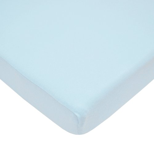 (American Baby Company 100% Natural Cotton Value Jersey Knit Fitted Portable/Mini-Crib Sheet, Blue, Soft Breathable, for Boys and Girls)