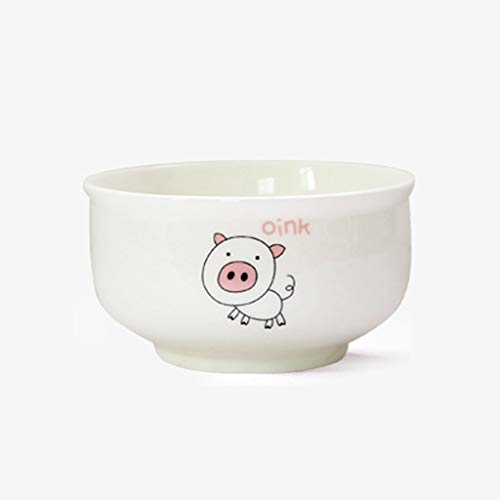 - Ceramic bowl cute cartoon home eating bowl adult personality 12 zodiac rice bowl single (Color : PIG)