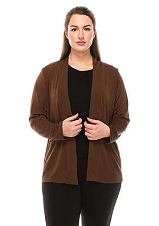 Jostar Women's Stretchy Drape Jacket Long Sleeve No Shoulder Pad Plus - Brown - XX-Large