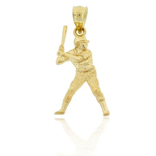 10k Gold Baseball Pendant - Charm America Gold Baseball Batter Charm - 10 Karat Solid Gold