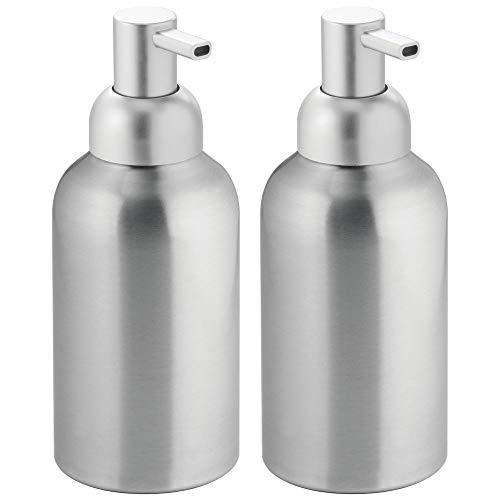 mDesign Modern Aluminum Metal Refillable Liquid Soap Dispenser Pump Bottle for Bathroom Vanity Countertop, Kitchen Sink - Holds Dish Soap, Hand Sanitizer, Essential Oils - Rust Free, 2 Pack - Brushed ()