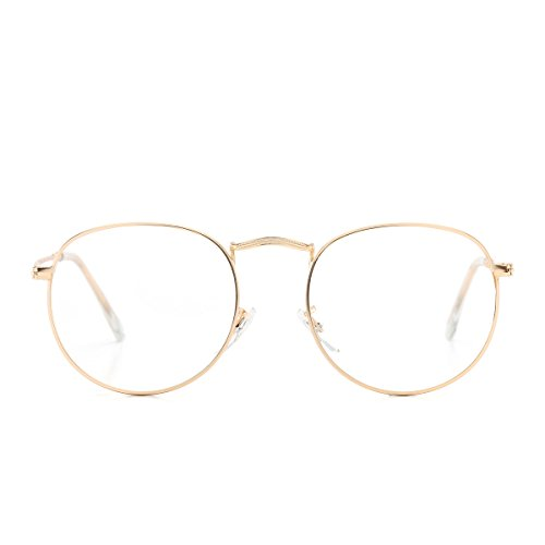 AZORB Round Clear Lens Glasses Circle Metal Frame Non-Prescription Eyeglasses for Men Women (Gold, 50) (Vintage Circle Frame Gläser)