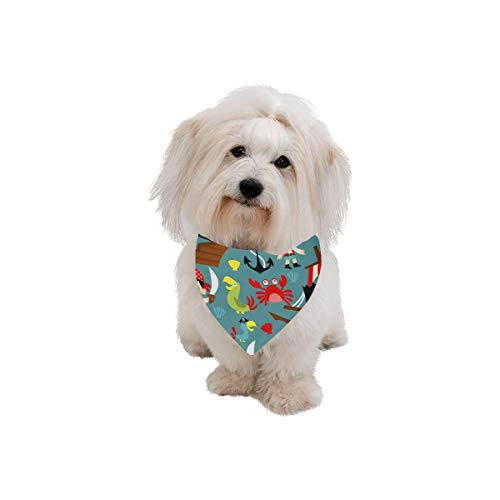 AIKENING Pet Dog Cat Bandana Pirate Cartoon Creative Design Color Fashion Printing Bibs Triangle Head Scarfs Kerchief Accessories for Large Dog Pet Birthday Party Easter Gifts]()
