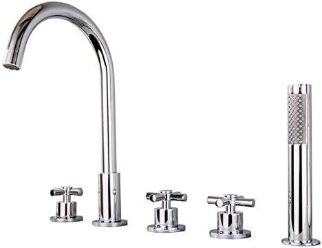 ZT-TTHG 手にはタブを開催し、トリムキット、5ピースの銅の浴槽の蛇口シャワー、シリンダ側ホットとコールド蛇口プルシャワーは、耐久性のある設定しました