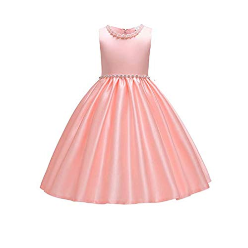 Girls Pink Dress Size 9 Sleeveless Ball Gown for Special Occasion Wedding Party Girls 9-11 Years Halloween Fancy Party Dress Fluffy Knee Length for Teens Bridesmaid Dresses 7-16 Vintage (Blush,120)
