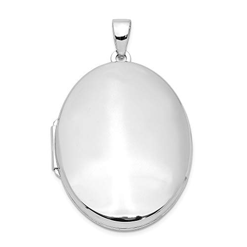 (925 Sterling Silver 32mm 2 Frame Oval Photo Pendant Charm Locket Chain Necklace That Holds Pictures Fine Jewelry Gifts For Women For Her )