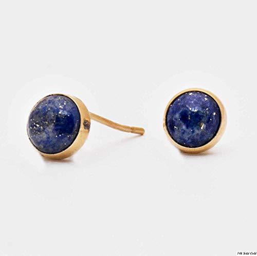 14K Gold Blue Lapis Lazuli Studs Earrings - 14K Solid Yellow Gold Studs, Round 6mm Natural Stone, Genuine Dark Blue Lapis Lazuli Gemstone, Simple Minimalist Dainty Handmade Jewelry for Women ()