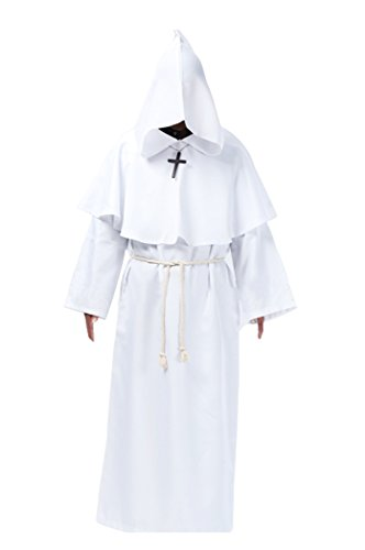 Priest Costume White (Cos2be Costume For The Medieval Monks Robe Various Styles(White,Men-XL))