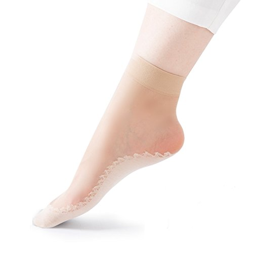 HaloVa Women's Silk Stockings, Ultra-Thin Cotton Sole Short Ankle Socks, 10 Pairs, Skin Color (Skirt Dress Short Silk)