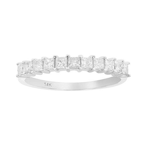 1/2 CT Princess Diamond Wedding Band 14K White Gold In Size 6 (Cut Diamond Band Princess)