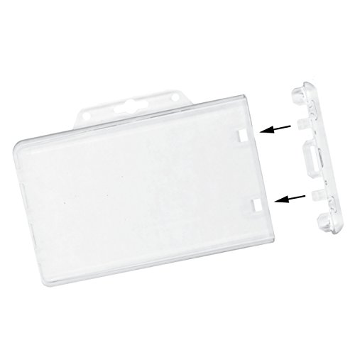 Clear Horizontal Permanent Locking Plastic Card Holder (5 Pack with ()