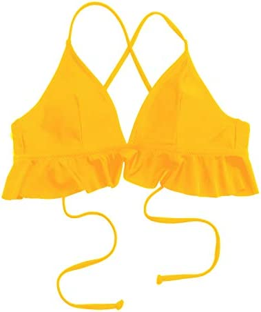 SouqFone Women Bikini Lace Up Flounce Swimsuit V Neck Swim Tops High Waisted Swimwear