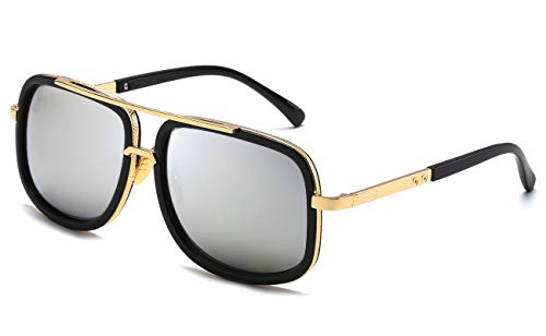 Eyerno Retro Aviator Sunglasses For Men Women Vintage Square Designer Sun Glasses(Silver Mirrored) (Mens Designer Aviator Sunglasses)